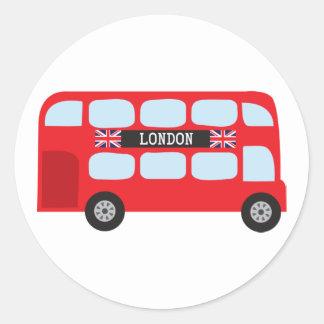 Autobus à deux étages de Londres Autocollants Ronds