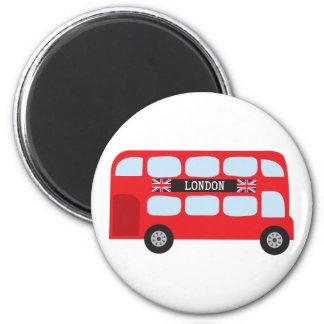 Autobus à deux étages de Londres Magnet Rond 8 Cm