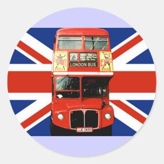 Autobus et drapeau britannique 3 d autocollants de