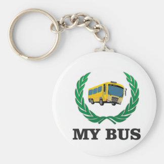 autobus jaune mon porte-clé rond