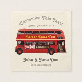 Autobus rouge de Londres orienté Serviette Jetable