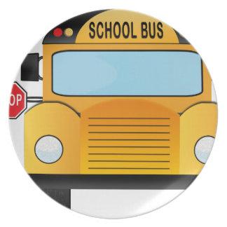 autobus scolaire assiettes en mélamine