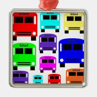 autobus scolaires d'arc-en-ciel ornement carré argenté