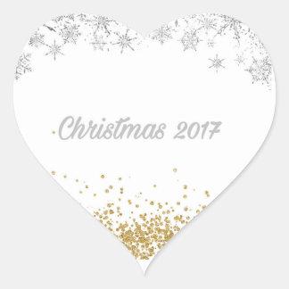 Autocollant 2017 de coeur de Noël d'argent et d'or