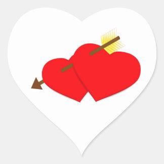 Autocollant 2 de coeur et de flèche