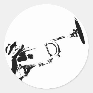 Autocollant abstrait de trompette de jazz
