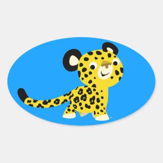 Autocollant amical d'ovale de léopard de bande