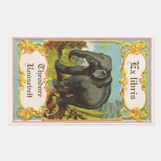 autocollant antique d'ex-libris d'éléphant de
