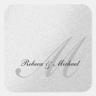 Autocollant argenté élégant de mariage de monogram