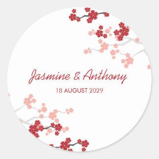 Autocollant asiatique de mariage de fleurs de