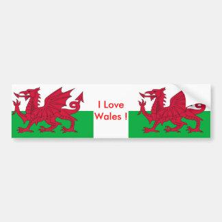 Autocollant avec le drapeau du Pays de Galles Autocollant De Voiture