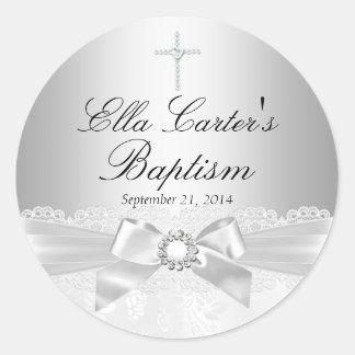Autocollant blanc de baptême de dentelle et de