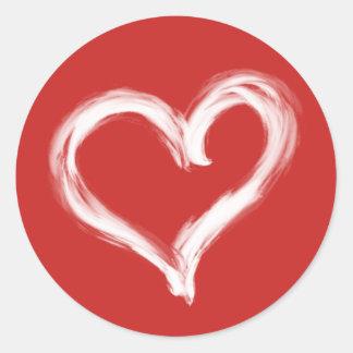 Autocollant blanc de coeur peint par brosse