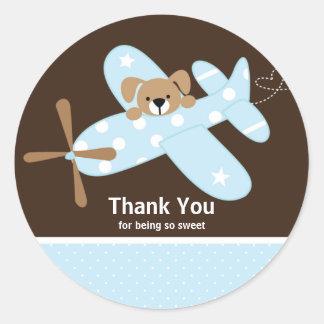Autocollant bleu de baby shower de Merci d'avion