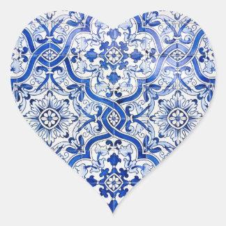 Autocollant bleu de coeur d'Azulejo de Portugais