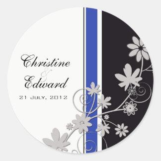 Autocollant bleu de mariage de fleur