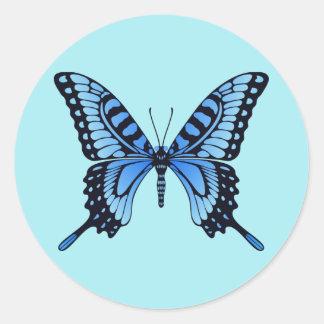 Autocollant bleu de papillon de Rounnd