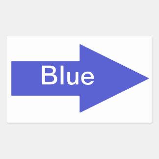 Autocollant bleu de signe de flèche