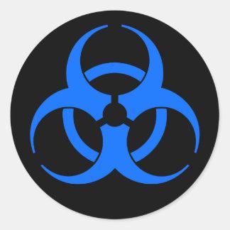 Autocollant bleu de symbole de Biohazard