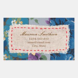 Autocollant (bleu) floral d'adresse de patchwork