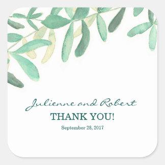 Autocollant botanique moderne de faveur de Merci