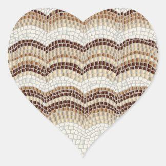 Autocollant brillant de coeur de mosaïque beige