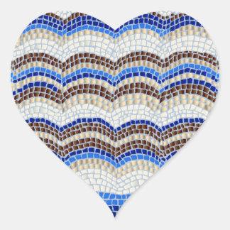 Autocollant brillant de coeur de mosaïque bleue