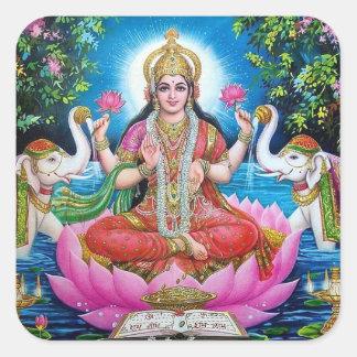 Autocollant carré de déesse de Lakshmi grand