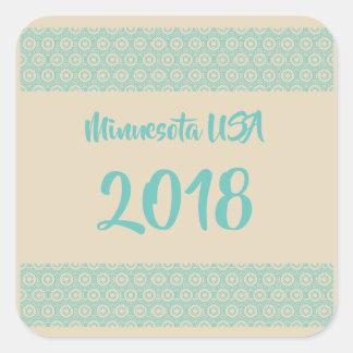 Autocollant carré du Minnesota Etats-Unis 2018