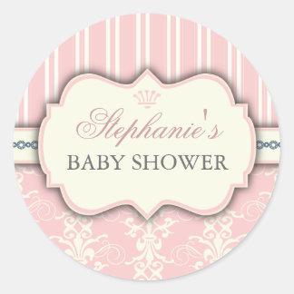 Autocollant chic de faveur de baby shower de damas