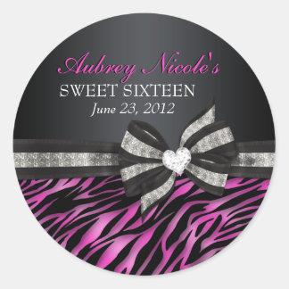 Autocollant chic de sweet sixteen de zèbre