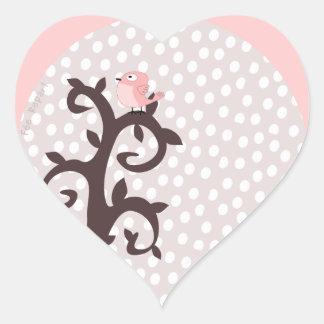 autocollant coeur oiseau rose sur arbre arabesque