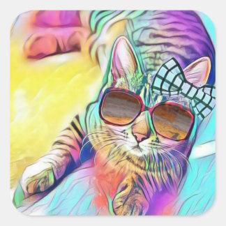 Autocollant coloré de chat