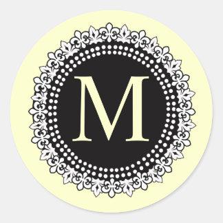 Autocollant crème du monogramme M Fleur de lis