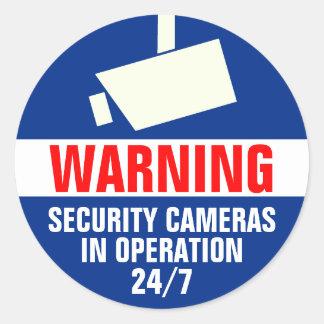 Autocollant d avertissement rond de caméra de