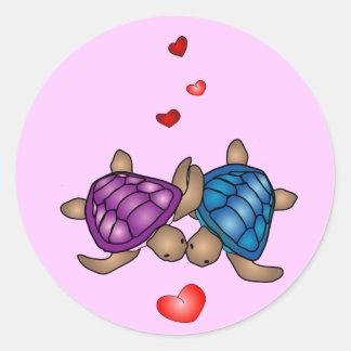 Autocollant d'amour de tortue