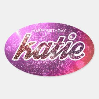 Autocollant d'anniversaire de Katie