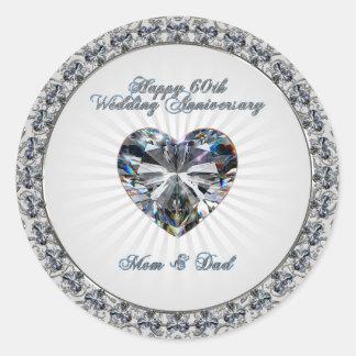 Autocollant d'anniversaire de mariage de coeur