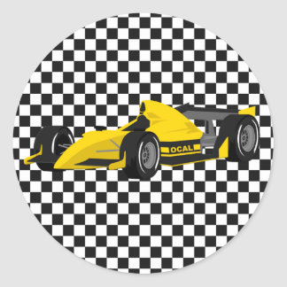 Autocollant d'anniversaire de voiture de course