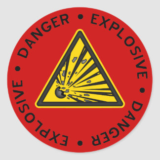 Autocollant d'avertissement explosif rouge