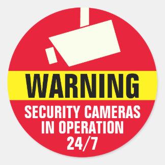 Autocollant d'avertissement rond de caméra de