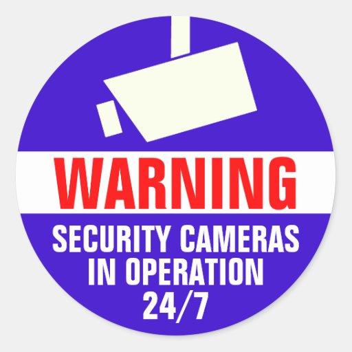 Autocollant d'avertissement rond de caméra de sécu