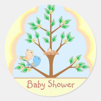 Autocollant de baby shower de famille d'oiseau