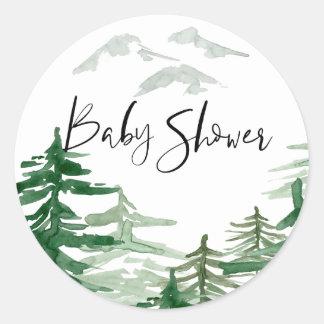 Autocollant de baby shower de région boisée