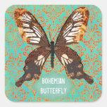 Autocollant de Bohème de damassé de papillon