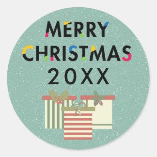Autocollant de boîtes-cadeau de Joyeux Noël de