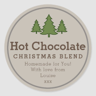 Autocollant de cadeau du chocolat chaud