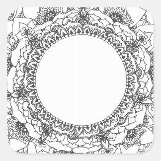 Autocollant de carré de mandala de pleine lune