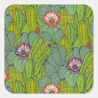 Autocollant de carré de motif de fleur de cactus