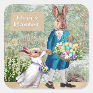 Autocollant de carré de papa de lapin de Pâques